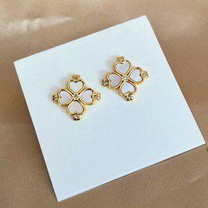 Kate Spade White Enamel Heart-shaped Earrings